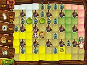 SpongeBob SquarePants Boo or Boom is a bomberman style Halloween themed game where your objective is to collect as many candy points as possible. The evil plankton planted several plankt-o-lanterns in the bikini bottom to destroy the Halloween party. You have to destroy all the plankt-o-lanterns by planting plumsters. Play as SpongeBob, Patrick, Sandy, or Squidward and plant plumsters by using the spacebar button. Use arrow keys to move and blast plankt-o-lanterns and collect power ups and candy coins. Turn as many tiles as you can to you character