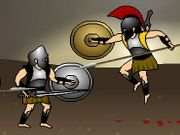 You are the mighty Greek warrior Achilles and your mission is to kill every one of your enemy in a blood-spattered war. In each level you have to kill all the enemy warriors and the chief warrior at the end to progress to the next level. The game consists of 15 levels to conquer. Use the left and right arrows or A and D keys to move, up arrow or W to jump, down arrow or S to block attacks or pick up spear, press T to use the sword or throw spear, and Y key to kick enemies. You can immobilize your enemies temporarily by kicking them.