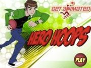 Help Ben 10 to throw the rubber balls through the moving hoops to score points. Your objective is to score as many points as possible before the time runs out. Use the mouse to aim at the baskets and click to throw the basketball. There are several bonus baskets like point
