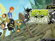 Your mission in Ben 10 Spores Attack is to help Ben to stop all the deadly plants before they starts budding. The alien killer spore plants have invaded the earth and you have to eradicate them as soon as possible. Help Ben to sprinkle talc over the spore plants to kill them. Some plants will bud and throws spores at you and you have to avoid them else you will lose health points. Use your mouse to aim and click to throw talc at the plants. Collect power ups on your way which will help you further.