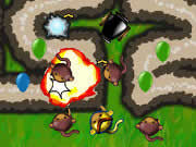 BTD4 features improved graphics, loads of new and original tower types and tons of upgrades for each tower type. Heaps of tracks, save games, career mode, sandbox mode and apopalypse mode. Bloons Tower Defense 4 will give you almost unlimited replay value.
