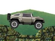 Control the hummer as you drive over the mountains grabbing gold items and the exit key. Don