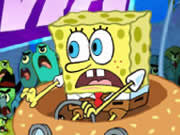 In SpongeBob Delivery Dilemma your mission is to help SpongeBob to reach Krusty Krab with all the ingredients before the time runs out. You have only 60 seconds to reach Krusty Krab, so hurry up. Use the up arrow to accelerate, down arrow to brake, use left/right arrows to turn, and press spacebar to attack. Try to avoid all the plankton