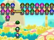 Mario Turrets is an awesome puzzle game where your objective is to throw the Mario puppets at the bottom as they walk by. You have to connect four similar colored puppets to clear them from the screen. Do not let the moving Mario puppets from top to touch the bottom of the screen else the game will be over. Use your mouse to click on the puppets to throw them upwards. Turtle puppets are the bonus puppets and they will remove the entire column when thrown upwards.