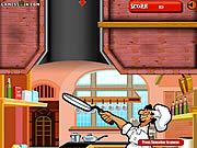 Help Papa Pizzazo to make the best pizza ever and get his dream girl. Your objective is to keep the pizza in air as long as possible. Left click the mouse to toss the pizza, and then keep clicking to keep it in the air. Try to collect all the toppings in the air to score points. The higher the pizza goes into the air the pricy it would get so try your best to keep the pizza in air. Try your best and help the pizza maker to kiss the girl of his dream.
