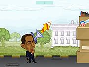 Play either as Obama or McCain and fight against your opponent to win the race to reach the white house in Presidential Street Fight. Use your gun to throw balls at your opponent to hit him. Watch out for the wind directions as that will affect your throw. Move your mouse to set the power of your throw and click to fire balls. Try to hit your opponent directly for combo scores. You both have blocks in front of you as shields. Try to destroy the shields so that you can hit your opponent directly. Collect the power ups like Uncle Sam