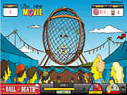 Help Homer to collect all the items while riding his motorcycle in the death ball. In each level you have to collect 5 items to progress to the next level. Grab the bonus items like donuts, squishes, and duff beer to score more points. While riding the bike do not hit any obstacles else you will crash. You have 3 lives available in each level to complete it. Try to complete all the 10 levels by showing your bike skills. Use up arrow to accelerate, down arrow to brake, left and right arrows to turn your bike.