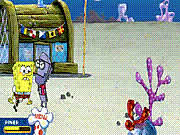 Throw the robot minions as far as you can in SpongeBob Square Pants: Anchovy Assault. You can play either the contest mode or the free play mode. Select from Squidward, SpongeBob, and Mr. Krabs and start playing. You have to rapidly press the spacebar button to build up your power when the robot minion approaches. Throw plates, burgers, or jellyfishes at the robot to make it bounce further by pressing the spacebar. Hit the spacebar button when the gauge is in the green region of the precision meter to keep the robot in air. In the contest mode you have limited ammunition in each level, so play carefully.
