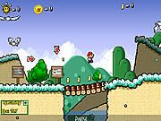 In Super Mario 63 Mario has to embark on a mission to search for the orb of power, it contains infinite sources of energy that should not falls into bad hands, but the problem is no one knows where the orb is. You have to help Mario to find the orb before any evil hand reaches it. Use the left and right arrows to walk, up arrow to jump, use Z key for ground pound or talk, C key for fludd, X key to spin attack, and use shift to switch fludds. The game contains many secrets and power ups that you have to collect to complete your mission. Defeat all the enemies and collect gold coins to score points.