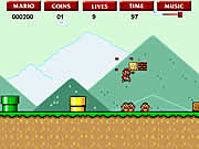 Play either as Mario or Luigi in Super Mario Flash and defeat all the enemies to reach the checkpoint in each level before the time runs out. Use the left arrow to move left, right arrow to move right, up arrow to jump, and down arrow to crouch. Collect gold coins to score points and hit the golden blocks to get bonus items. Jump over the enemies and do not let them to touch you else you will lose lives. Do not fall off the cliffs and try to reach the end flag as quickly as possible to score higher.