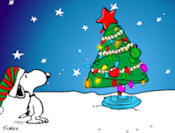 Charlie Brown is sad because nobody likes the christmas tree he chose, Charlie needs your help, with your mouse drag and drop the ornaments onto the xmas tree.