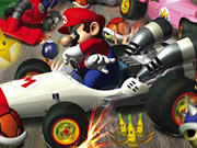 Race through the Mario world and beat your opponents in the platform-based game Mario Racing Tournament. Choose from eight characters from the Mario world and start racing. Use D key to accelerate, A key to reverse, W key to jump or fly, S to brake, Q for booster, and press spacebar to use items. You have to finish first in each level to progress to the next one. Hit the question blocks to obtain an item, collect green mushrooms for 25 points, red mushrooms for temporary speed up, collect yellow star and hit your opponent to make them dizzy, collect feather to fly, gather coins, and collect flower to fire it to your rivals to make them dizzy.