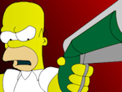 Homer Simpson shoots down Flanders and his cry baby family! Watch out for the other Simpson characters around town.