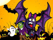 In this funny halloween themed game you have to kill all the monsters that come to attack you! Reload your gun with the space bar and aim all of them to win the game! Gain health and time with the skull and pumpkin that would show eventually!