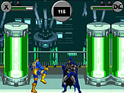 It is a Street Fighter style battle between X-Men heros and heros of the Justice League task Force.
